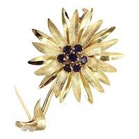 Vintage 18 Karat Yellow Gold Amethyst Large Flower Brooch Pin Fine Jewelry