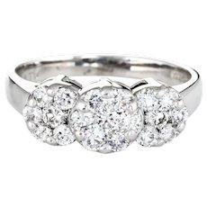 1ct Diamond Cluster Ring Estate 14 Karat White Gold 3 Flower Mount Jewelry Sz 7 3/4