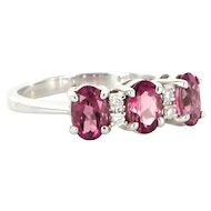 Estate 10 Karat White Gold Pink Tourmaline Diamond Cocktail Ring Fine Jewelry