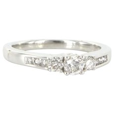 Vintage 14 Karat White Gold Diamond Three Stone Trilogy Ring Bridal Jewelry