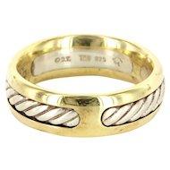 Estate David Yurman 18 Karat Yellow Gold 925 Sterling Silver Mens Rope Wedding Ring