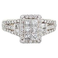 Diamond Cluster Ring Square Estate 10 Karat White Gold Fine Jewelry Illusion Set Sz 6