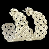 Vintage 14 Karat White Gold Braided Small Hoop Shrimp Earrings Fine Jewelry