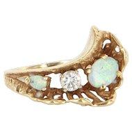 Vintage 14 Karat Yellow Gold Diamond Opal Cocktail Ring Fine Estate Jewelry