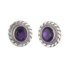 Stephen Dweck Amethyst Earrings Silver Round Clip On Estate Fine Jewelry
