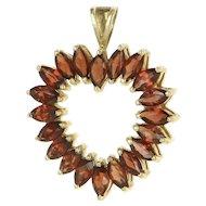 Vintage 10 Karat Yellow Gold Garnet Heart Cocktail Pendant Fine Estate Jewelry