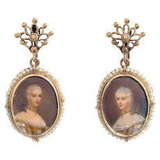 Vintage Portrait Earrings 14k Gold Drops Estate Fine Jewelry Seed Pearls