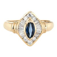 Marquise Sapphire Diamond Ring Vintage 14 Karat Yellow Gold Estate Fine Jewelry 7.75