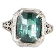 Art Deco 14 Karat White Gold Green Quartz Filigree Cocktail Ring Estate Vintage
