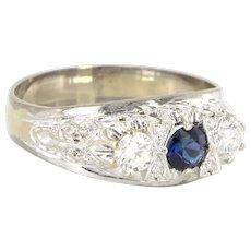 Vintage 14 Karat White Gold Diamond Sapphire Three Stone Trilogy Ring Estate