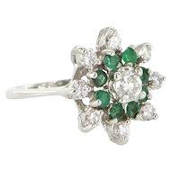 Vintage 14 Karat White Gold Diamond Emerald Cluster Cocktail Ring Fine Jewelry