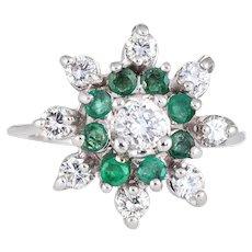 Emerald Diamond Ring Vintage 14 Karat White Gold Round Cocktail Ring Cluster Jewelry