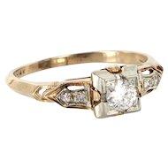 Art Deco 18-14 Karat Yellow White Gold Diamond Engagement Ring Sz 7