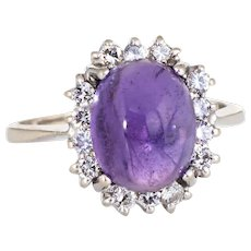 Cabochon Amethyst Diamond Ring Vintage 14 Karat White Gold Princess Cocktail Jewelry