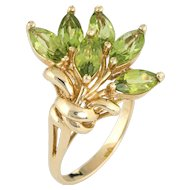 Vintage 14 Karat Yellow Gold Peridot Cocktail Spray Ring Fine Estate Jewelry