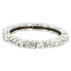 Vintage 18 Karat White Gold Diamond Eternity Stack Band Ring Fine Estate Sz 6.25