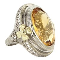 Art Deco 10 Karat White Gold Citrine Cocktail Pinky Ring Vintage Estate Jewelry