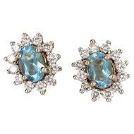 Vintage 18 Karat Yellow Gold Diamond Topaz Princess Stud Earrings Estate Jewelry