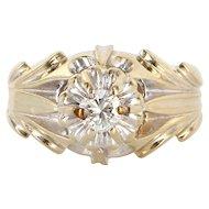 Vintage 14 Karat White Gold Diamond Tulip Cocktail Ring Fine Estate Jewelry