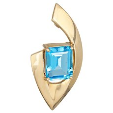 Blue Topaz Pendant Vintage 1980s 14 Karat Yellow Gold Estate Fine Jewelry Emerald Cut