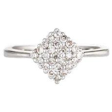 Diamond Shaped Pinky Ring Estate 14 Karat White Gold Pave Set Vintage Fine Jewelry