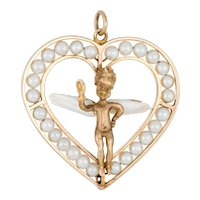 Winged Angel Heart Charm Vintage 14 Karat Yellow Gold Cultured Pearl Cherub Jewelry