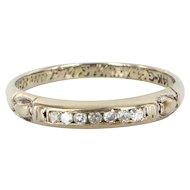 Vintage 14 Karat White Gold Diamond Wedding Band Ring Fine Estate Jewelry