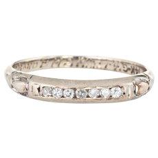 Vintage Diamond Wedding Band c1941 Estate 14 Karat White Gold Ring Jewelry Sz 4.75