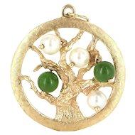 Vintage 14 Karat Yellow Gold Jade Cultured Pearl Tree Of Life Pendant Charm Estate Jewelry