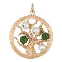 Tree of Life Pendant Charm Vintage 14 Karat Yellow Gold Estate Fine Jewelry Round