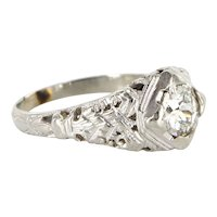 Art Deco 18 Karat White Gold Diamond Filigree Engagement Ring Fine Estate Vintage Jewelry