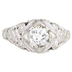 Antique Deco Diamond Ring 18 Karat White Gold Engagement OEC Filigree Jewelry