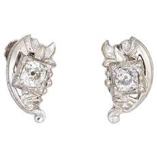 Vintage Diamond Earrings 10 Karat White Gold Old Mine Cut Estate Jewelry Screw Back