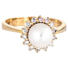 Cultured Pearl Diamond Halo Ring Vintage 14 Karat Yellow Gold Estate Jewelry Round