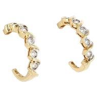 Vintage 14 Karat Yellow Gold Diamond Shrimp Earrings Fine Estate Jewelry