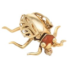 Vintage Enamel Beetle Bug Insect Brooch Pin 14 Karat Yellow Gold Estate Jewelry
