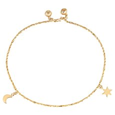 "Moon Star Anklet Ankle Bracelet Vintage 14 Karat Yellow Gold 10.5"" Celestial Jewelry"