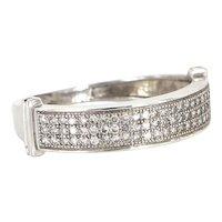 Vintage 14 Karat White Gold Micro Pave Diamond Stack Band Ring Estate Jewelry