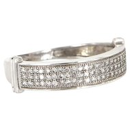 Vintage 14 Karat White Gold Micro Pave Diamond Stack Band Ring Estate Jewelry