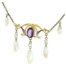 Art Nouveau 14 Karat Yellow Gold Amethyst Sawtooth Pearl Enamel Drop Necklace Vintage Estate Jewelry