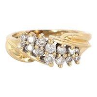 Vintage 14 Karat Yellow Gold Diamond Cocktail Right Hand Ring Estate Jewelry