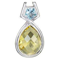 Lemon Quartz Blue Topaz Enhancer Pendant Estate 14 Karat White Gold Fine Jewelry