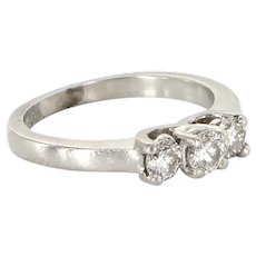 Vintage 900 Platinum Diamond Three Stone Trilogy Ring Fine Estate Bridal Jewelry