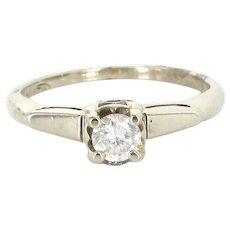 Vintage 14 Karat  White Gold Diamond Engagement Right Hand Ring Estate Jewelry Sz 5