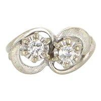 Vintage 14 Karat White Gold Double 2 Diamond Cocktail Pinky Ring Estate Jewelry