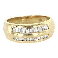 Vintage 14 Karat Yellow Gold Half Baguette Diamond Stack Band Ring Estate Jewelry