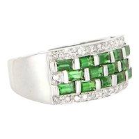 Vintage 14 Karat White Gold Diamond Tsavorite Garnet Band Right Hand Cocktail Ring Estate Jewelry
