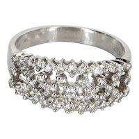 Lattice Diamond Cocktail Band Ring Vintage 14 Karat White Gold Estate Fine Jewelry 7