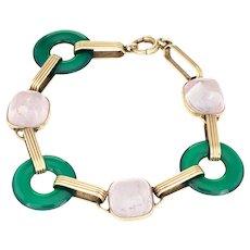Vintage Art Deco 14 Karat Gold Chrysoprase Rose Quartz Round Link Bracelet Vintage