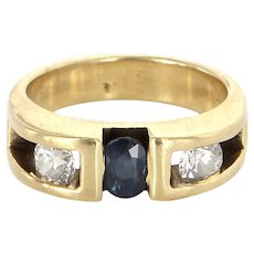Vintage 14 Karat Yellow Gold Sapphire Diamond Pinky Stack Band Ring Estate Jewelry